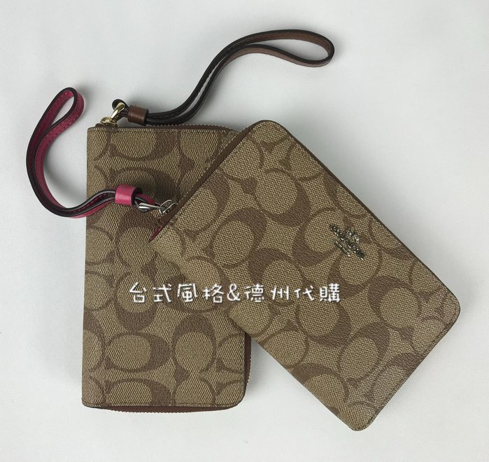 真品COACH皮夾長夾皮包德州直送女仕零錢包手拿包鑰匙包經典C紋logo錢包