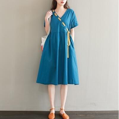 棉麻洋裝 2020夏季新款女裝文藝棉麻寬鬆大碼V領綁帶撞色短袖連身身裙 站CXZJ