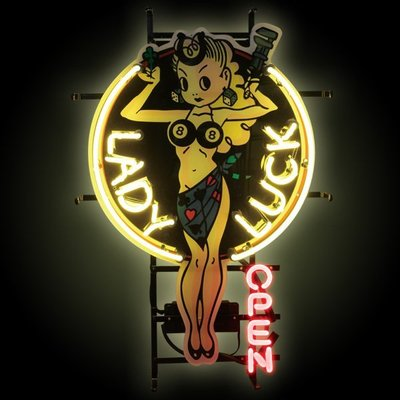 (I LOVE樂多) Lady Luck Neon Sign 幸運女神霓虹燈 打造居家/車庫裝飾情境
