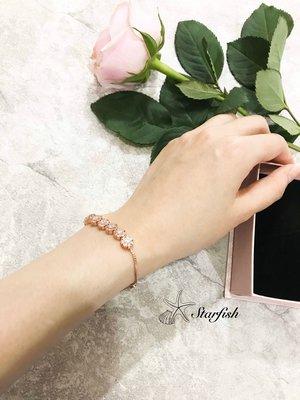 【海星 Starfish】水晶感排鑽系列 花鑽款 可調式手環(玫瑰金)