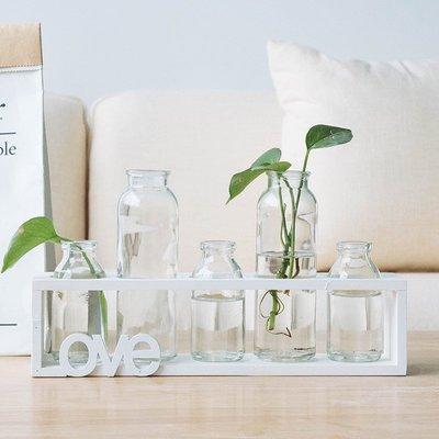 賓士印象~創意木架水培植物玻璃瓶花器裝飾客廳小容器辦公室桌面裝飾擺件