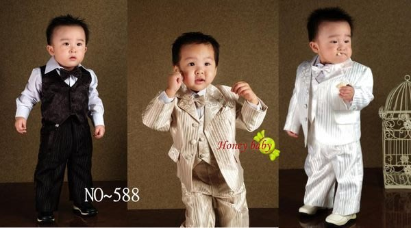 Honey Baby- ~NO.588 男童西裝 花童禮服 兒童西裝,聖誕節 ,金,黑,白,三色.大特賣888元