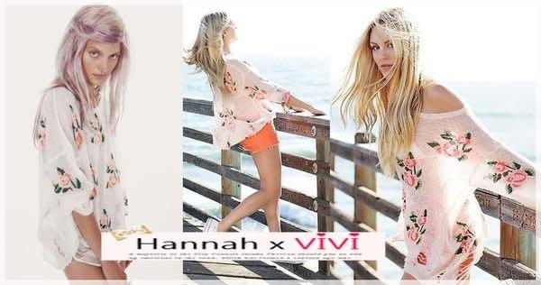 =Hannah 精選歐美時尚 全新 WILDFOX 百搭辣椒同款 馬海毛玫瑰花朵撕裂破損挖洞針織上衣