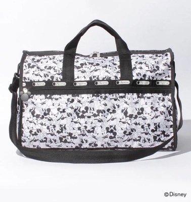 ♥ 小花日韓雜貨 ♥ -- lesportsac7185 黑白米奇款大號旅行袋出國出差行李包