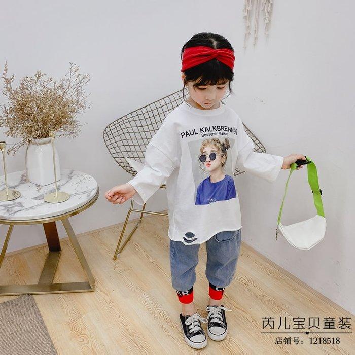韓版童裝女童韓國春季新品歐美風印花破洞長袖衛衣T恤中長款衛衣