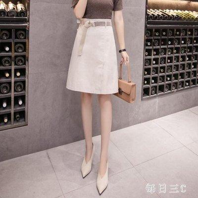 及膝半身裙帶內襯時尚韓版高腰A字裙氣質職業半身裙 zm6786