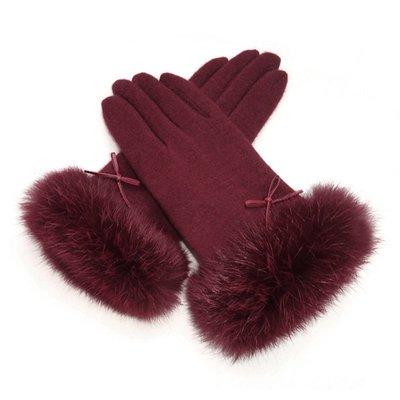 新品上市#秋冬新品女士羊毛雙層加絨加厚兔毛口保暖騎行開車手套