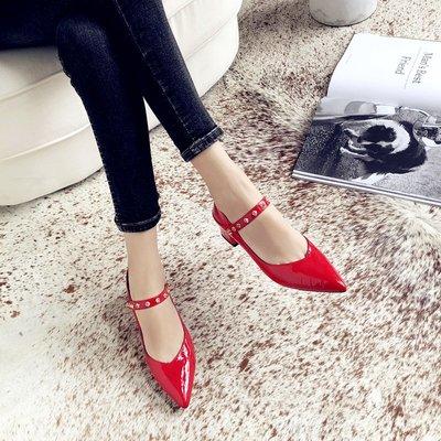 紅色中跟淺口單鞋女 秋季新款真皮韓版婚鞋尖頭皮鞋粗跟懶人鞋
