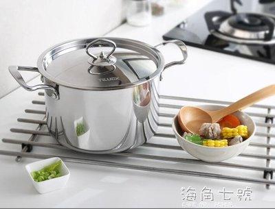 鍋具不銹鋼鍋304不銹鋼湯鍋20cm加高加厚不黏鍋具雙耳燉鍋電磁爐通用  海角七號