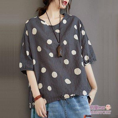 森系好穿顯瘦的點點印花棉麻衫 襯衫 萌蔓物語 【KX3043】韓蝙蝠袖棉T女上衣