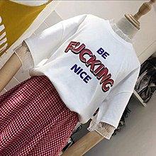 全新 韓國東大門款 白色短袖t恤 紅色英文字母上衣 修身衫 女裝tee 清貨(B)