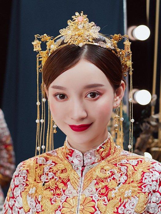 解憂zakka~ 新娘秀禾服頭飾古代中式結婚鳳冠大氣流蘇步搖古裝秀和古風發冠女#頭飾#髮飾