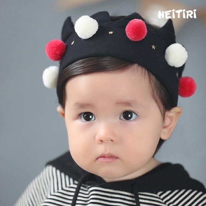 現貨~B62新款兒童髮帶 韓版兒童髮飾 毛球棉布保暖寬髮帶頭花嬰兒髮帶☆草莓花園☆