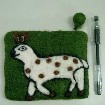 尼泊爾手工羊毛氈.動物.小鹿.墨綠色.球球拉鍊零錢包
