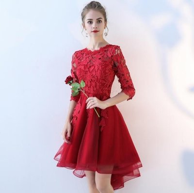 大碼新娘敬酒服 新款 訂婚結婚宴會紅色前短後長款連衣裙晚禮服—莎芭