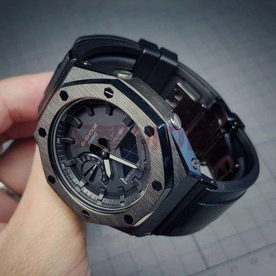 ga2100改裝件二代純黑色表殼卡西歐農家橡樹改裝表帶轉接 漢智mod錶帶手環