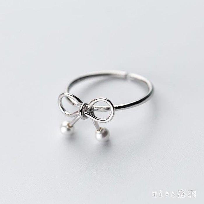 s925銀戒指女韓版小清新可愛蝴蝶結貝珠合成珍珠開口指環尾戒 js5102