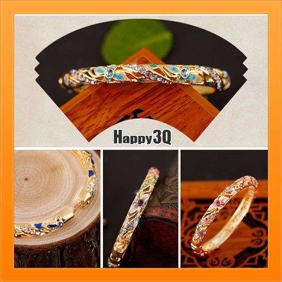 贈送禮物中國風復古奧地利水晶鑲嵌鍍金開...