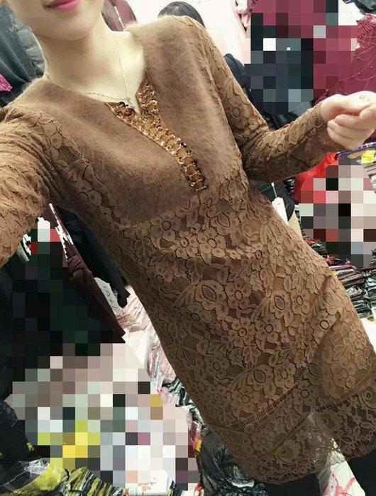 歐美 絨布 蕾絲 連身裙 上衣 加絨 保暖 修身 顯瘦 大尺碼 Me  Gusta