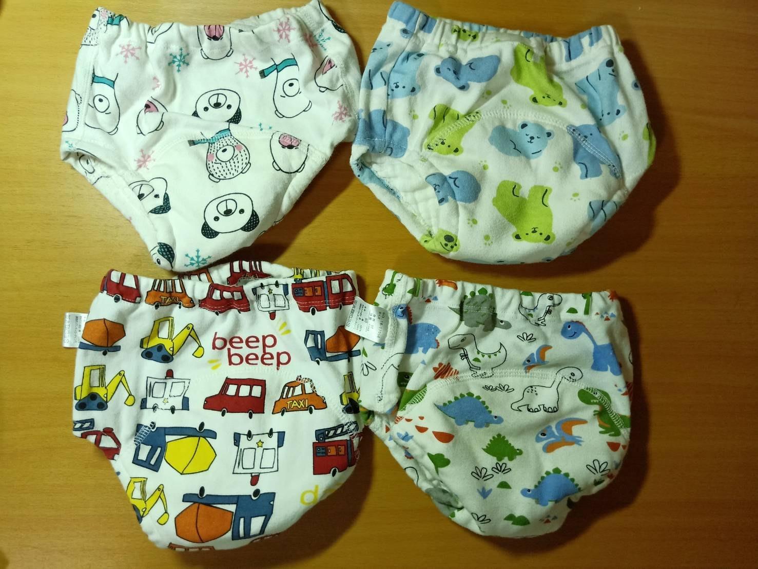 【咿呀二手館】-二手品-嬰幼兒透氣6層純棉尿布褲、學習褲-100%純棉(尺寸90公分)、有汽車、恐龍、北極熊、熊熊、太空