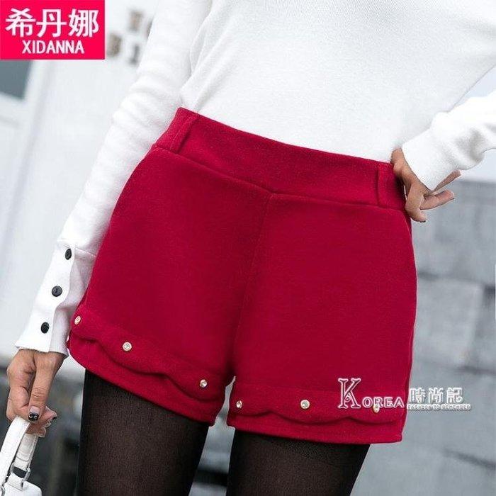 短褲-秋冬季新款毛呢短褲女外穿百搭高腰彈力闊腿顯瘦波浪釘珠灰色