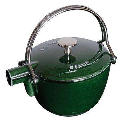法國Staub 鑄鐵 水壺 茶壺 1.15 L  16.5CM 圓形 法國製 (羅勒綠) 耶誕禮物 尾牙贈品