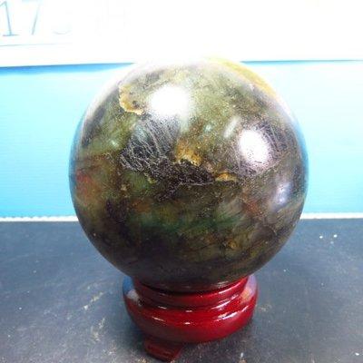 【競標網】高檔罕見天然漂亮彩光拉長石球1700公克100mm(贈座)(網路特價品、原價2500元)限量一件
