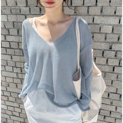秋寬鬆v領針織罩衫 針織薄款上衣sal9897