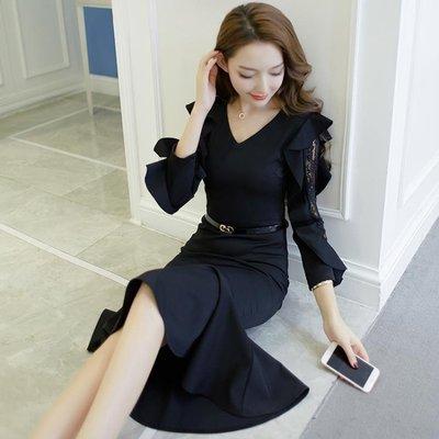 蕾絲連衣裙女秋冬新款小禮服裙子修身中長款魚尾裙法式復古裙洋裝   全館免運