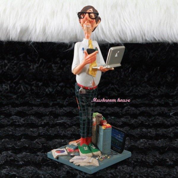 點點蘑菇屋 歐洲進口精緻法國社會寫實派設計師FORCHINO系列擺飾-職業系列之電腦高手(小) 工程師