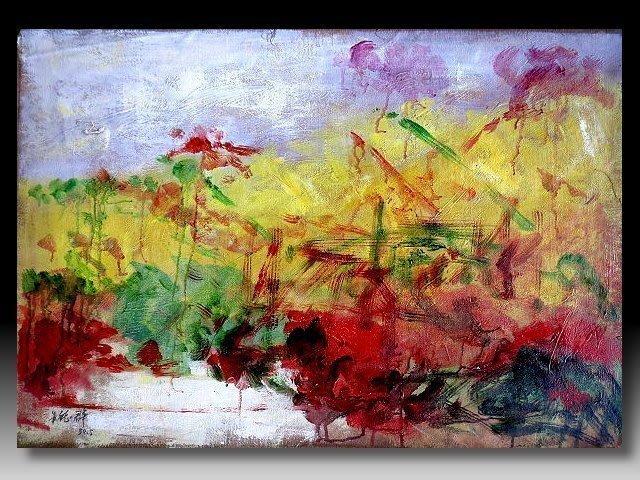 【 金王記拍寶網 】U1158  朱德群 款 抽象 手繪原作 厚麻布油畫一張 罕見 稀少 藝術無價~