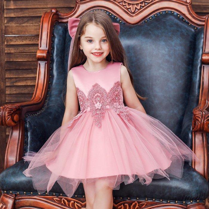 •*~ 辣媽咪衣飾小舖 ~*•❤童裝系列❤K970488韓版小童夏款甜美清新時尚蓬蓬蕾絲亮片可愛公主禮服公主洋裝