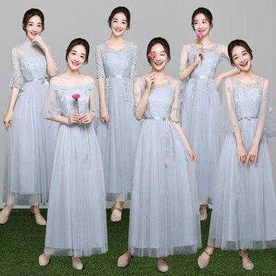 ZIHOPE 伴娘禮服 伴娘禮服女韓版姐妹團伴娘服長款灰色顯瘦一字肩連身裙夏ZI812