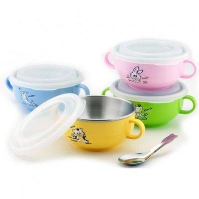 [老王五金] 斑馬牌 雙耳 兒童碗 塑膠蓋  學習碗 附耳 隔熱碗 小碗 彩色碗 三色碗 304不銹鋼 斑馬 開發票