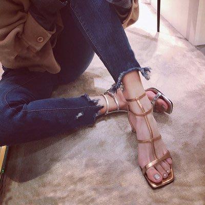 *菇涼家*夏季新款凉鞋女中跟镂空女鞋一...