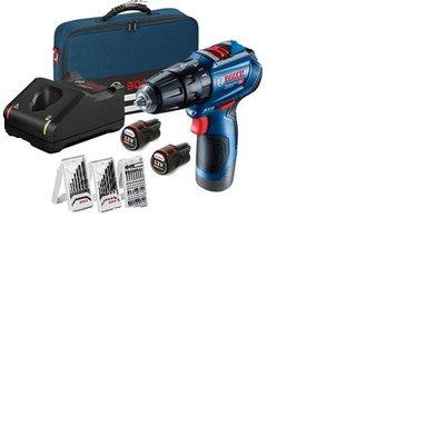 含稅~BOSCH 12V免碳刷鋰電震動電鑽起子機GSB 12V-30 2.0AH電池*2 (附3組套裝組)(單顆電池版)