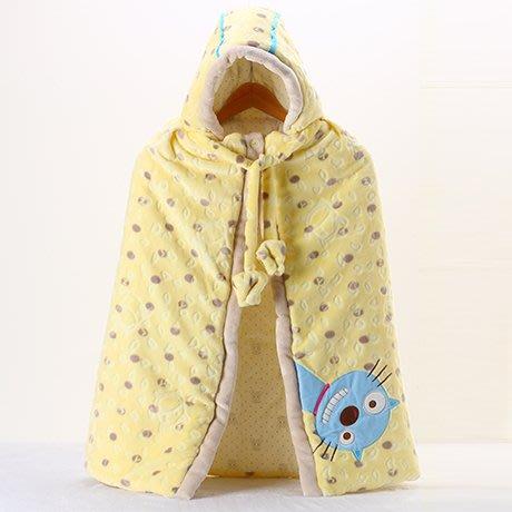 嬰兒披風斗篷秋冬加厚保暖連帽新生兒外出防風服加絨寶寶披肩毯子