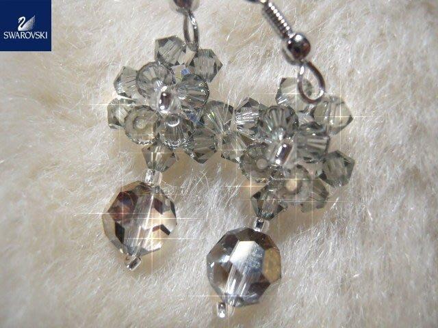※水晶玫瑰※ SWAROVSKI 地球珠水晶 耳勾式耳環(DD439)