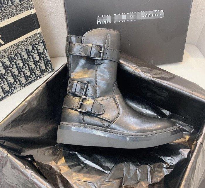 2020機車靴ANN中筒靴及膝平底馬丁靴真皮英倫風騎士靴女