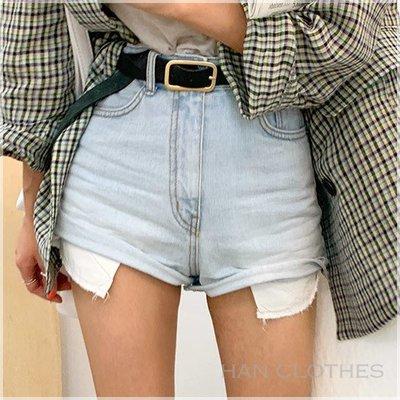 經典簡約淺色水洗高腰牛仔短褲。韓國連線。MB0709。正韓 * KOREA 韓衣角!han clothes