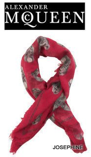 喬瑟芬【ALEXANDER MCQUEEN】現貨~紅莓 幾何骷顱頭 Skull-print modal-cashmere 方巾 圍巾