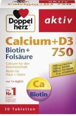 德國雙心Doppelherz 含鈣750+維生素D3+生物素+葉酸 Calcium 750 + Vitamin D3
