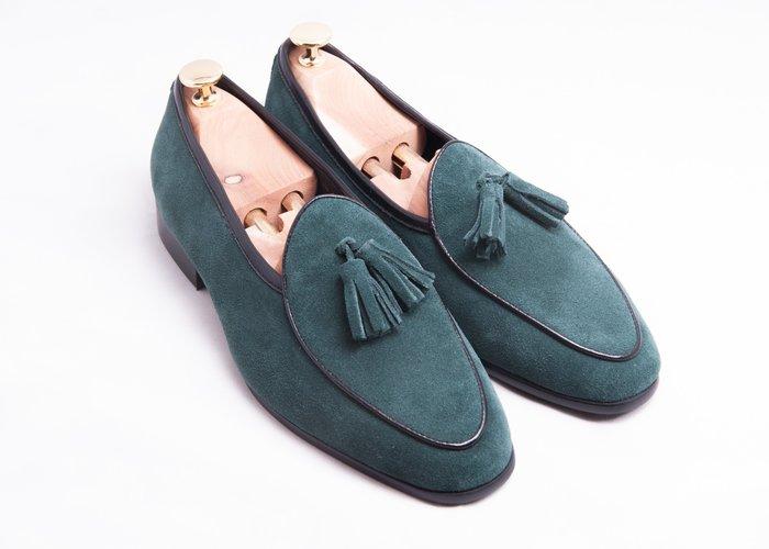 流蘇比利時樂福鞋:麂皮真皮男鞋皮鞋-綠色-免運費-[LMdH直營線上商店]E1B26-49