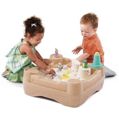 【晴晴百寶盒】美國進口 城堡雙面玩沙戲水 STEP2遊戲沙池水池箱子 收納裝沙 扮演扮家家酒 環保無毒玩具 W871