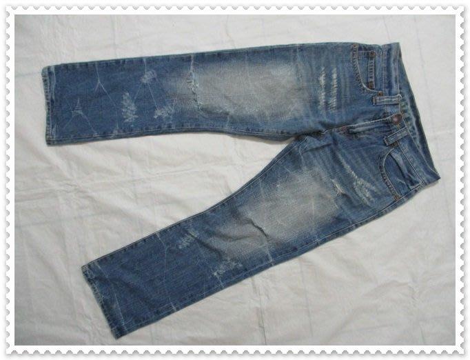 五一元起標 無底價 二手 CO&LU 藍色 刷色 破壞 牛仔褲 SIZE:25 -000