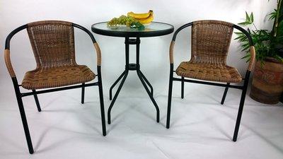 [兄弟牌休閒傢俱]PE藤椅一桌二椅組~黑色庭院6CM圓桌+ 2 張PE藤椅(黑色)/組,直購免運費 !