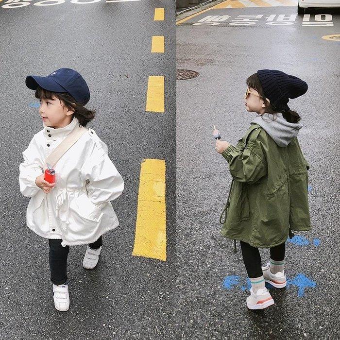 【小阿霏】兒童風衣外套 女童男童繫繩抓皺拉鍊式外套 秋冬韓風棉質大衣外套 女孩時尚百搭寬鬆外套CL172