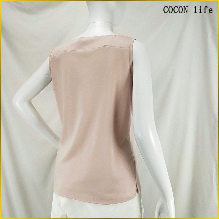 日系品牌/COCON LIFE/日本製/女 L号/UV CUT/純棉上衣/粉桃紅色/U領/背心/防曬加工/A0230C