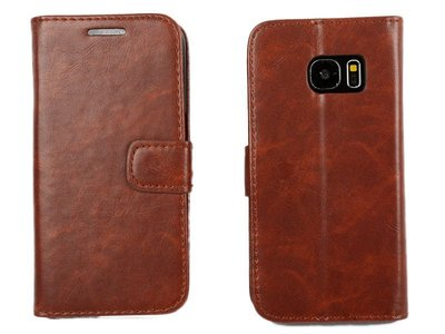 [GIFUTO]  低調品味 Samsung Galaxy S7 瘋馬紋支架保護套 附卡片夾層、鈔票夾層 – 棕