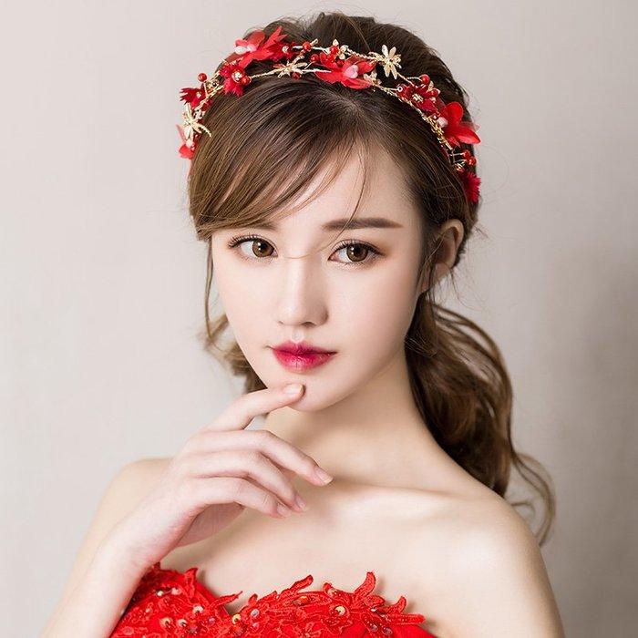 解憂zakka~ 新娘頭飾2019新款日韓紅色發箍發帶結婚禮婚紗敬酒服配飾品#頭飾#髮飾